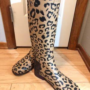 Hunter Leopard refined tall rain boot sz. 9